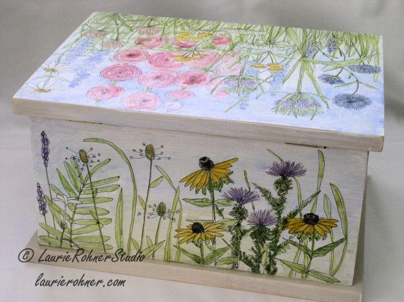 Farmhouse Painted Furniture Botanical Box Back